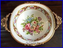 Vintage Ormolu Depos Porzellainfabrik Gilt Trim Footed Floral Porcelain Bowl