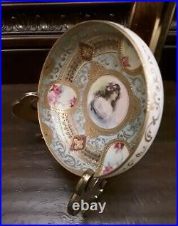 Vintage Ormolu Gilt Bavaria Germany Hand Painted Portrait Porcelain Bowl Footed