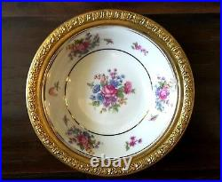 Vintage Ormolu Gilt Bavaria Tirschenreuth Germany Floral Bowl Brass Trim Frame