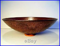 Vintage Otto Natzler Pottery Bowl Modernist Metallic Copper Austria Studio Art