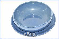 Vintage PINE RIDGE SIOUX POTTERY Large Blue Plate & Bowl Dish Signed O. COTTIER