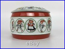 Vintage PORSGRUND Norway NISSE Elf Gnome Porcelain Lidded Covered Bowl Dish Jar