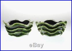 Vintage Pair Of Studio-made Wavy Bowls Possibly Jova Rancich