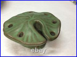 Vintage Peters Reed / ZPC Green Pereco Flower Bowl With Lily Pad Flower Frog EUC