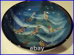 Vintage Polia Pillin Mid-Century Modern Pottery Birds Multicolor Bowl Signed