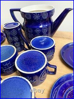 Vintage Portmeirion Totem Blue Teapot, 4 Cups & Saucers, Milk Jug & Sugar Bowl