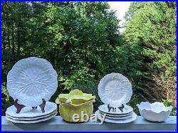 Vintage Portugal Majolica Cabbageware Lidded Tureen, Serving Bowl, 8 Plates +++
