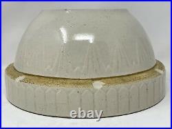 Vintage Pottery Stoneware Yelloware White Crock 10.5 Mixing Bowl Picket Fence