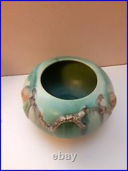Vintage ROSEVILLE Art Pottery 1936 PINECONE 278 4 Rose Bowl Vase Rich Green RARE