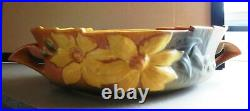 Vintage ROSEVILLE POTTERY CLEMATIS CONSOLE BOWL & Matching FLOWER FROG