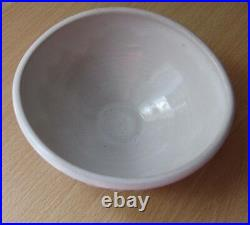 Vintage RYE Pottery Mid Century Abstract Hand Painted White and Blue Signed Bowl