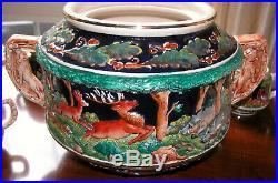 Vintage Rare German Stoneware Hunting Scene Punch Bowl Set 8 Mugs