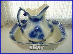 Vintage, Rare, Large, Flow Blue Pitcher and Bowl Set