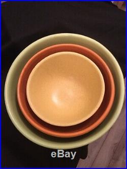 Vintage Rare Mccoy 3 Piece Citrus Color Matte Glaze Ribbed Mixing Bowl Set