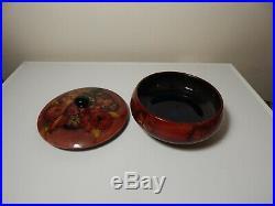 Vintage Rare Moorcroft Orchid Flambe Powder Bowl