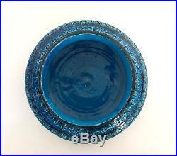 Vintage Rare Shape Bitossi Rimini Blue Bowl Aldo Londi Raymor Italian Pottery