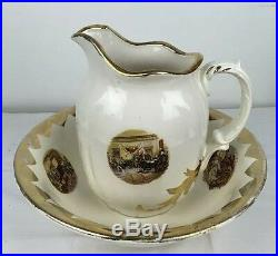 Vintage Revolutionary War Scenes Pitcher And Bowl with Gold Signed 1876 Handmade
