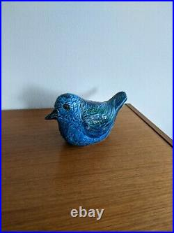 Vintage Rimini Blue Turquoise ALDO LONDI Bird Bitossi Italy MCM 20 cm w Sticker