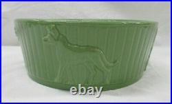 Vintage Robinson Ransbottom Pottery Roseville Dog Bowl Mint Green Dish (AL)
