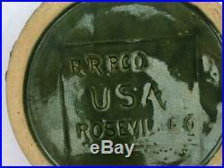 Vintage Robinson Ransbottom Pottery Roseville O Dog Bowl Green Feeder XLarge