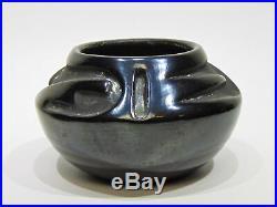 Vintage Rose Cata Gonzales San Ildefonso Pueblo Blackware Black Pottery Bowl Nr