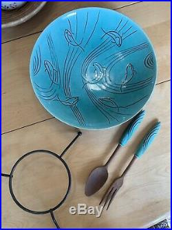 Vintage Roselane Pasadena Turquoise Bowl with Original Black Iron Stand & Utencils