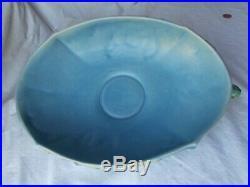 Vintage Roseville 2 Handled BUSHBERRY Centerpiece Console Bowl Blue 414-10