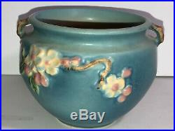 Vintage Roseville Apple Blossom Jardiniere Planter Bowl 300-4 (Blue) Nice