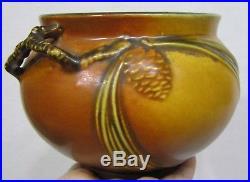 Vintage Roseville Art Pottery Brown Pinecone Bowl Vase 632-4 Circa 1931