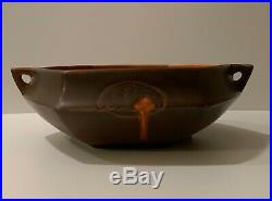 Vintage Roseville Art Pottery Brown Rosecraft Hexagon Bowl