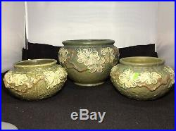Vintage Roseville Art Pottery Dogwood Textured 3 Pc set Vases Planters Bowls