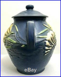 Vintage Roseville Freesia Blue Cookie Jar Handles Lid 4-8 Planter Vase Bowl USA
