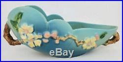 Vintage Roseville Pottery Apple Blossom Blue Scalloped Oval Bowl 329-10 EUC