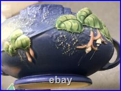 Vintage Roseville Pottery Blue Fuchsia Bleeding Heart Bowl with Flower Frog