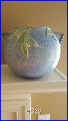 Vintage Roseville Pottery Blue Jardiniere Bowl 6 1/4
