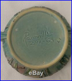 Vintage Roseville Pottery Bowl withhandles Green/Pink Moss Pattern 291-6
