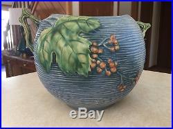 Vintage Roseville Pottery Double Handled Blue Bushberry Bowl, Model 411, 8 Tall