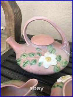 Vintage Roseville Pottery White Rose Pink Teapot Set Sugar Bowl & Creamer 1940s