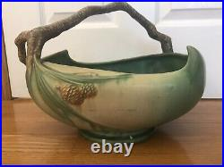 Vintage Roseville XLarge Rare Pinecone Green Bowl With Handle