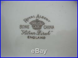 Vintage Royal Albert Silver Birch Covered Sugar Bowl & Creamer