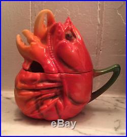 Vintage Royal Bayreuth German Porcelain Lobster Mustard Pot Jam Jar Sugar Bowl