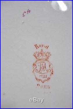 Vintage Royal Bonn Germany Big Round Porcelain Bowl withMetal Ring 10 D x 4 T