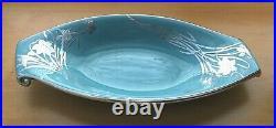 Vintage Royal Haeger Art Nouveau Turquoise Sterling Silver Overlay 17 Long Bowl