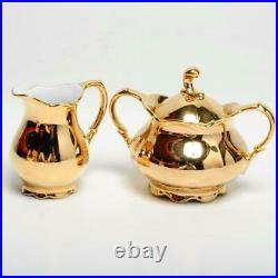 Vintage Rudolf Wachter Bavaria, Gold Glaze Teapot, Creamer & Sugar Bowl Set