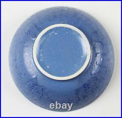 Vintage Ruskin pottery matt tonal blue glaze bowl, dated 1927