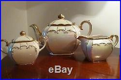 Vintage SADLER teapot cream lustre CUBE shaped + jug & lidded sugar bowl- 2 pint