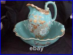 Vintage SARREGUEMINES Large 2pc Blue Enameled Wash Basin Bowl & Floral Pitcher