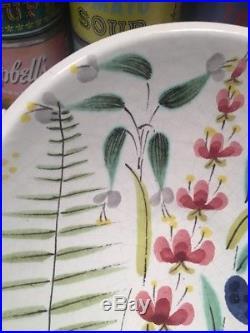 Vintage STIG LINDBERG Gustavsberg Floral Faience FLOWERS Pottery Bowl Sweden MCM