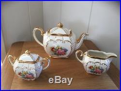 Vintage Sadler Cube Teapot, Jug & Sugar Bowl, Floral Design With Gilt Decoration