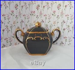 Vintage Sadler Dark Grey Cube Teapot Milk Jug and Sugar Bowl